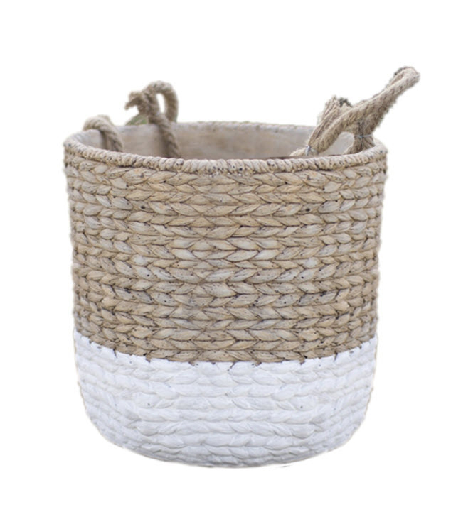 If it looks like a basket, is it? NO ... these fabulous cement planters accurately mimic woven baskets. Group some together for an earthy plant or herb arrangement.
