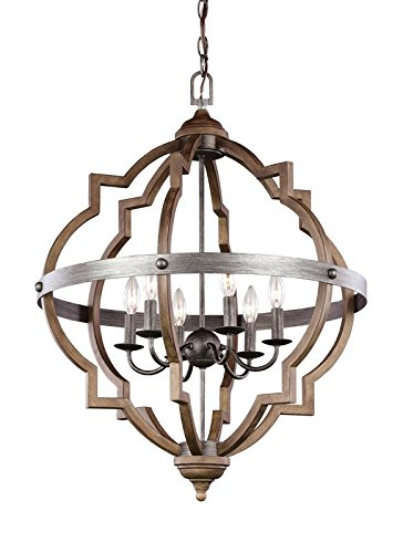 Saint Mossi Stardust Distressed Oak Finish Farmhouse Chandelier Lighting Flush Mount LED Ceiling Light Fixture Pendant Lamp Dining Room Bedroom Livingroom 6 E12 LED Bulbs Required Height 29 Width 21