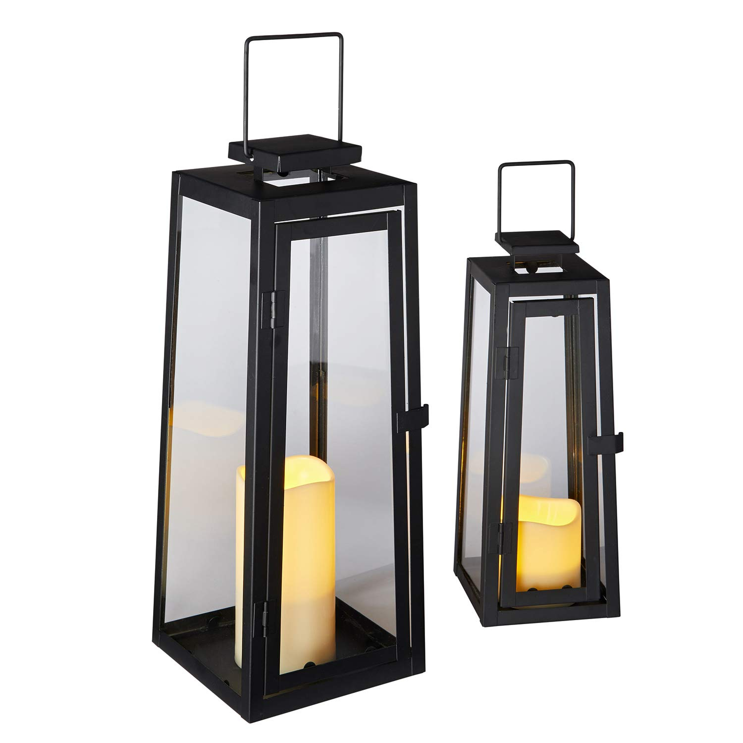 Duo of black metal lanterns are a stylish addition to both inside or outside your home. Each lantern houses one flameless LED candle which gives a warm flickering glow just like the real thing.