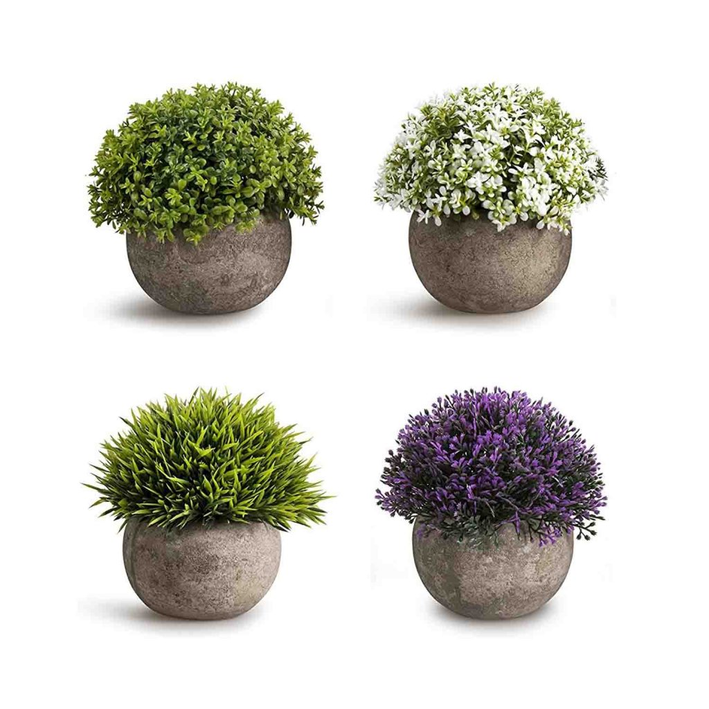 Set of 4 Small Topiary Shrubs