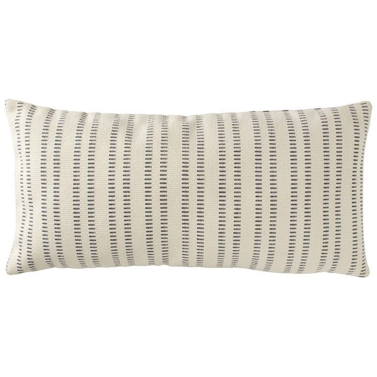 Stone and Beam French Laundry Strip Lumbar Pillow in grey and cream.