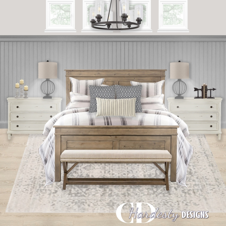 A farmhouse styled bedroom with distressed woods, metal accents and a neutral color palette.