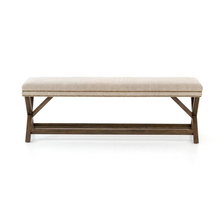 Elyse Bench in Heather Twill Stone fabric with nailhead trim.