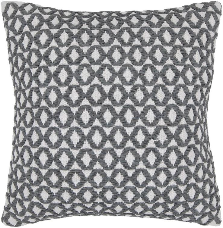 Grey and cream geometric cotton pillow.