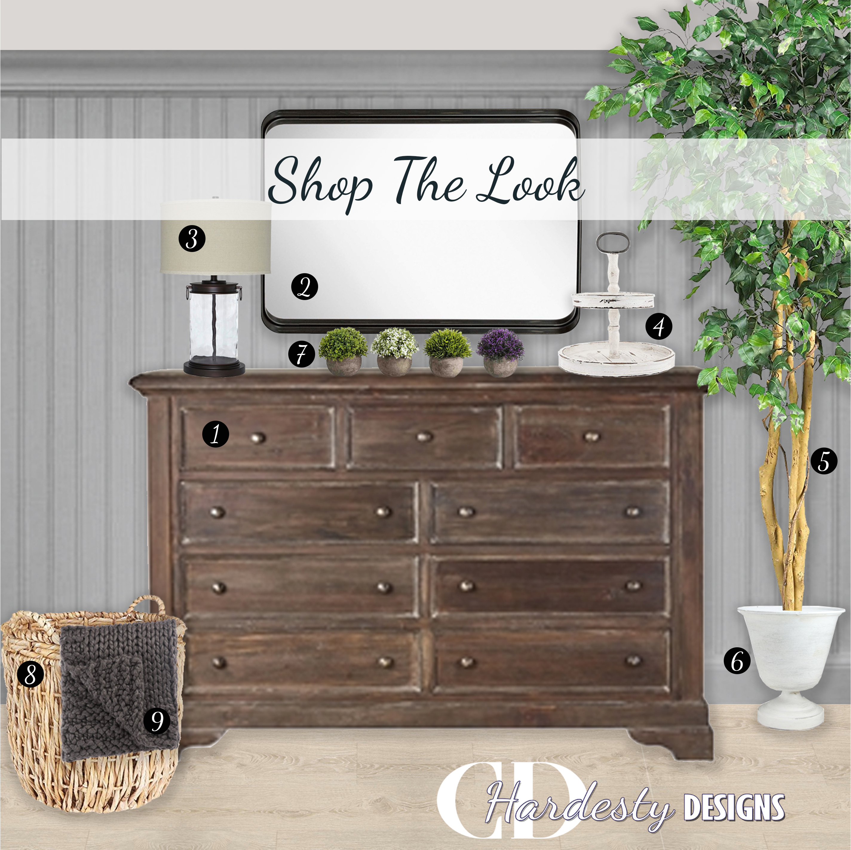 Shop The Look!  Farmhouse style Bedroom with distressed wood, metal accents and a neutral color palette.