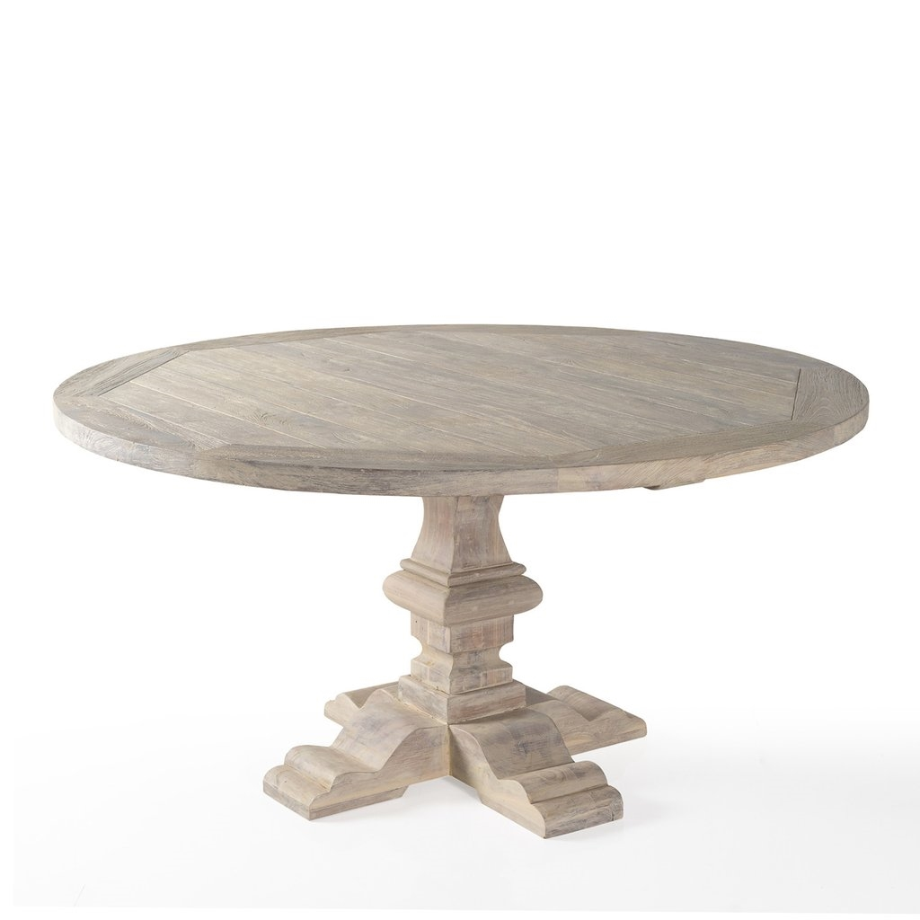 Indoors or outside, this gorgeous round recycled teak dining table seats 8-10. The wood carved pedestal base adds an extra measure of distinction as well as allowing ample leg room. (PP)