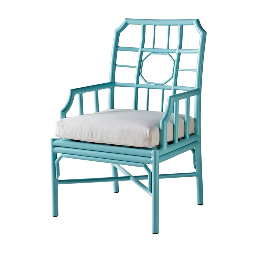 Made of aluminum and ready to withstand all types of weather, this outdoor dining arm chair features a truly classic look. Its' sleek + comfortable design is the perfect fit for any patio, either around the table or within a conversation space. Featuring a refreshing blue finish + a removable quick dry pillow.