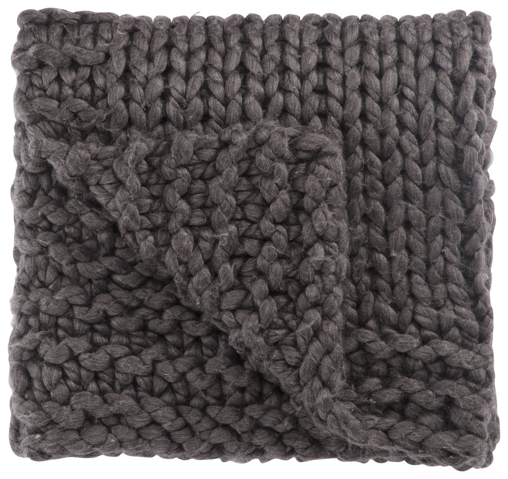 Chunky cable knit grey throw blanket.