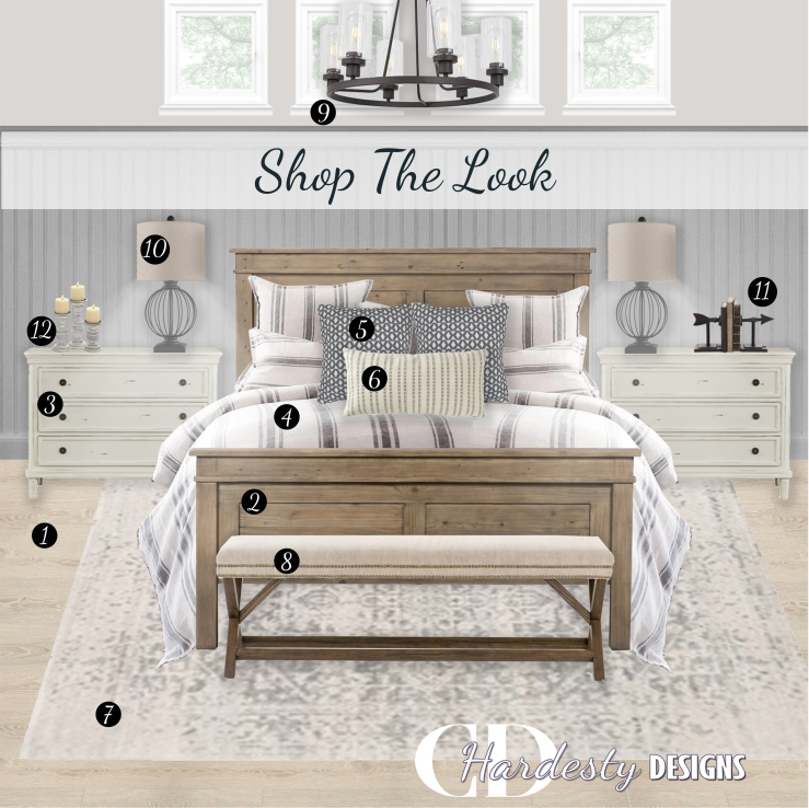 SHOP THE LOOK!   A farmhouse styled bedroom with distressed woods, metal accents and a neutral color palette.