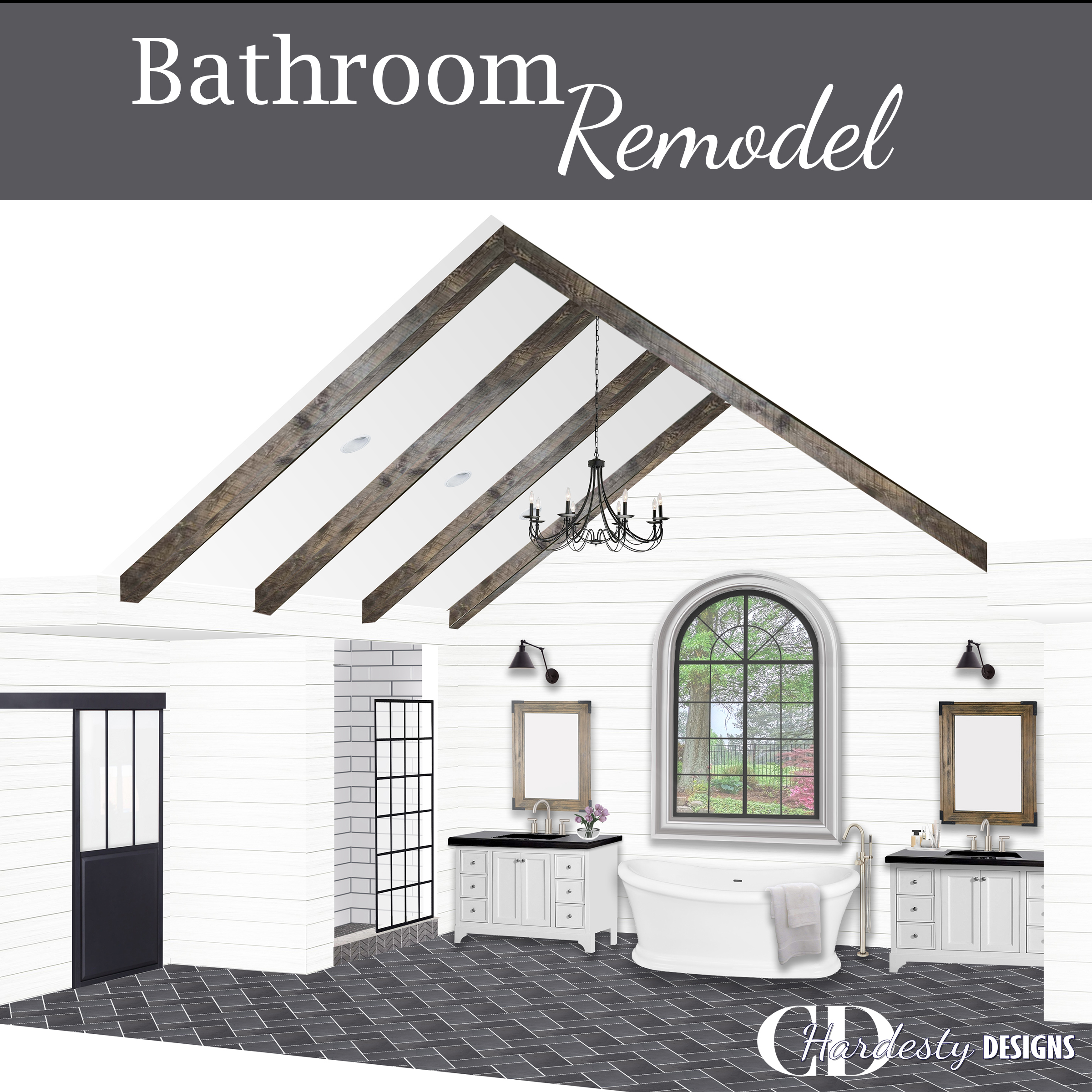 3D rendering of a modern farmhouse styled bathroom remodel