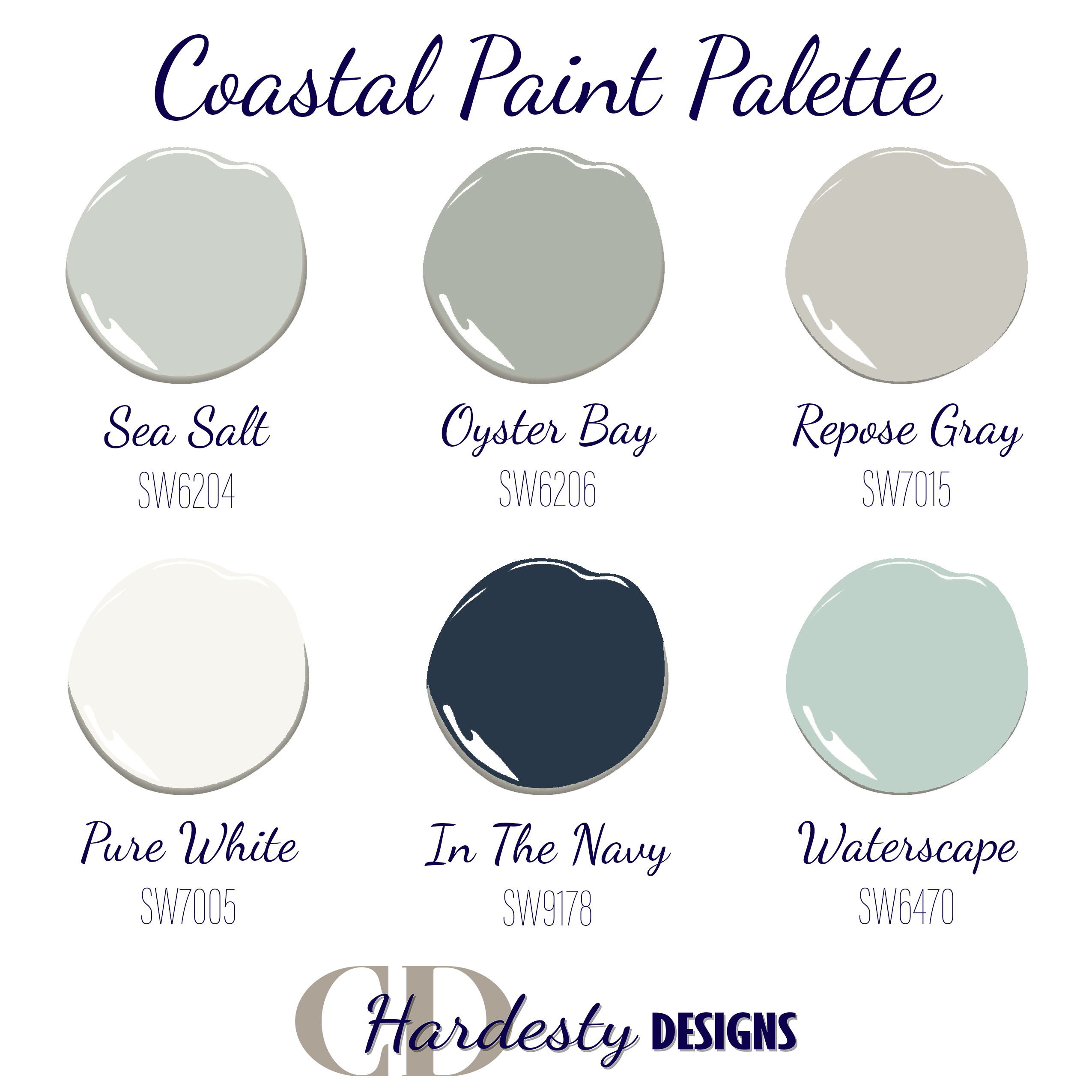 Color consultation color palette in a coastal farmhouse style with neutral shades and blue accents.