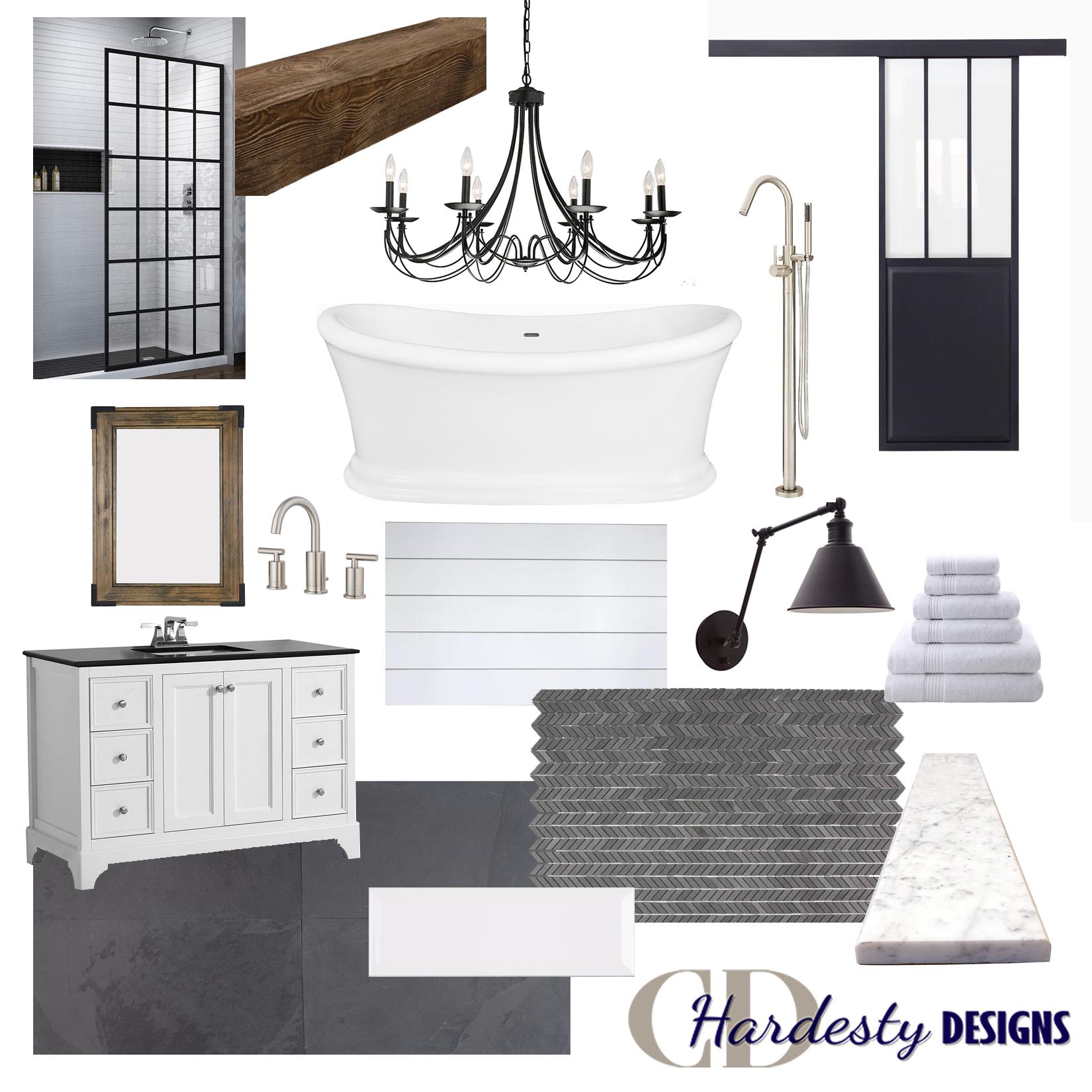 Modern farmhouse bathroom remodel concept board.