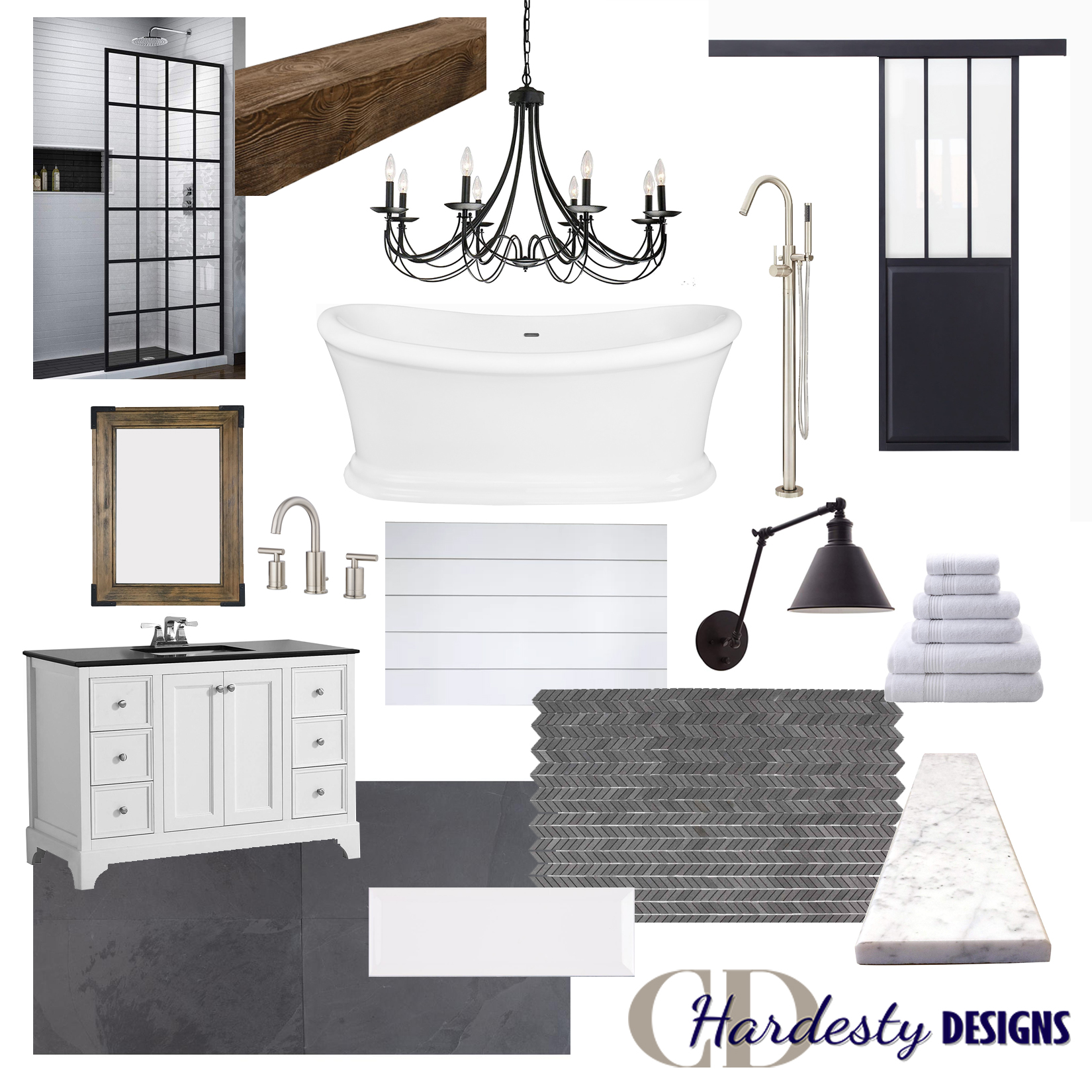 Modern farmhouse bathroom remodel concept board by CDHardesty Designs