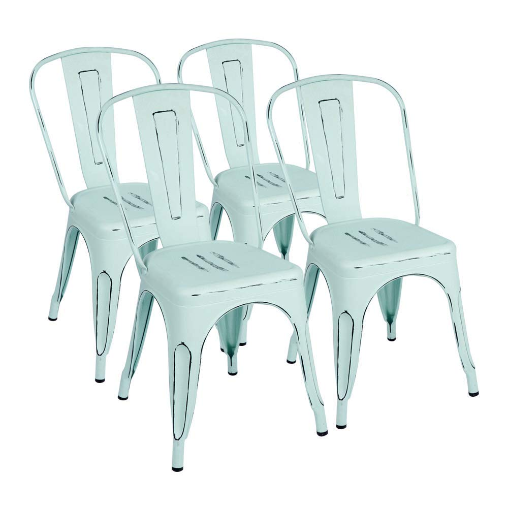 I can appreciate the look of variations of whites, creams, greys and beiges, but I also love color!  These Furmax Metal Chairs Distressed Style Stackable Chic Dining Bistro Cafe Side Chairs Set of 4 (Dream Blue) can help you add a subtle splash of color to you dining space, either indoors or outdoors!