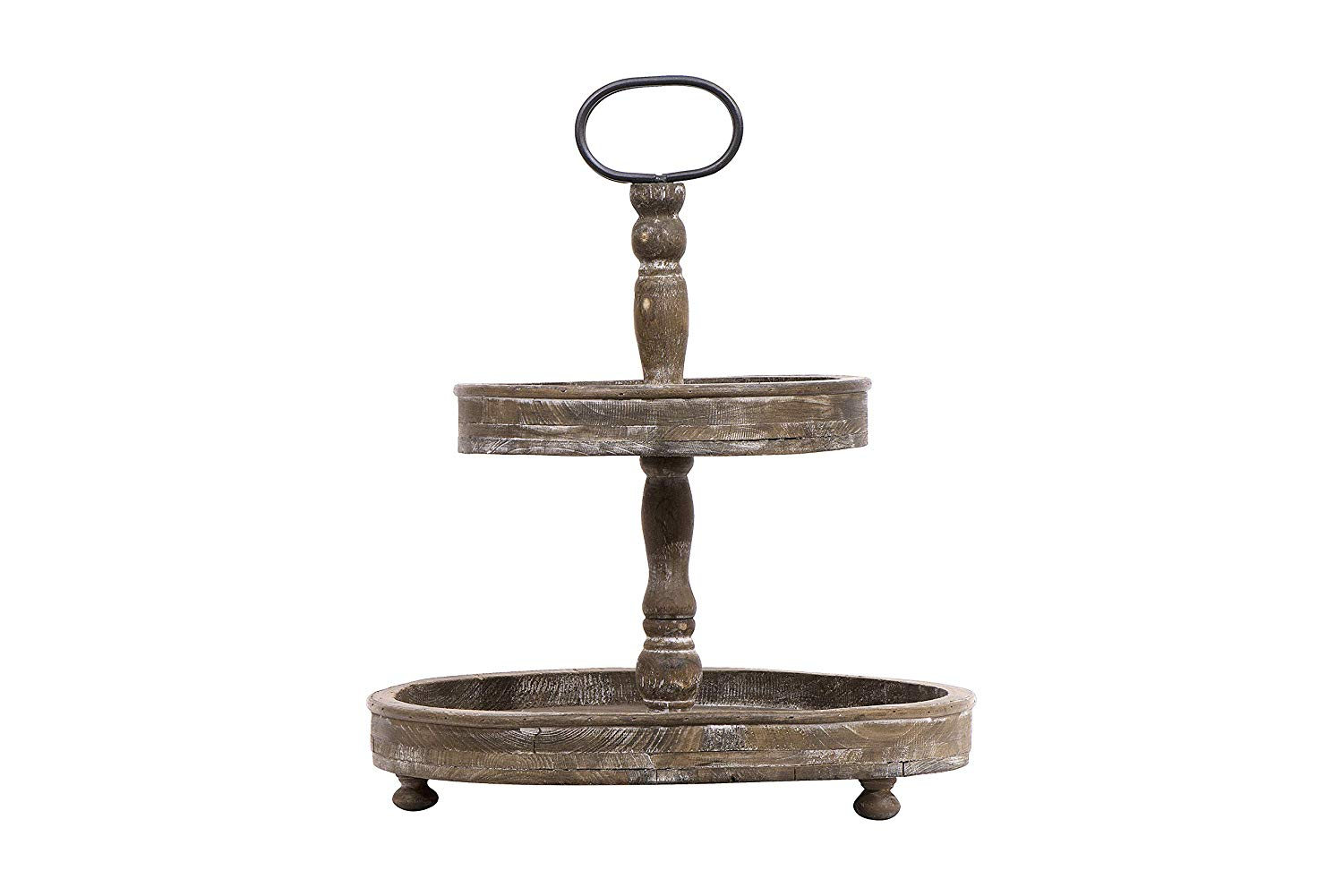 The perfect addition to your kitchen countertop or bedroom dresser, this Creative Co-Op Distressed Brown Wood Metal Handle Two-Tier Tray adds height and a great place to display all of your little finds.
