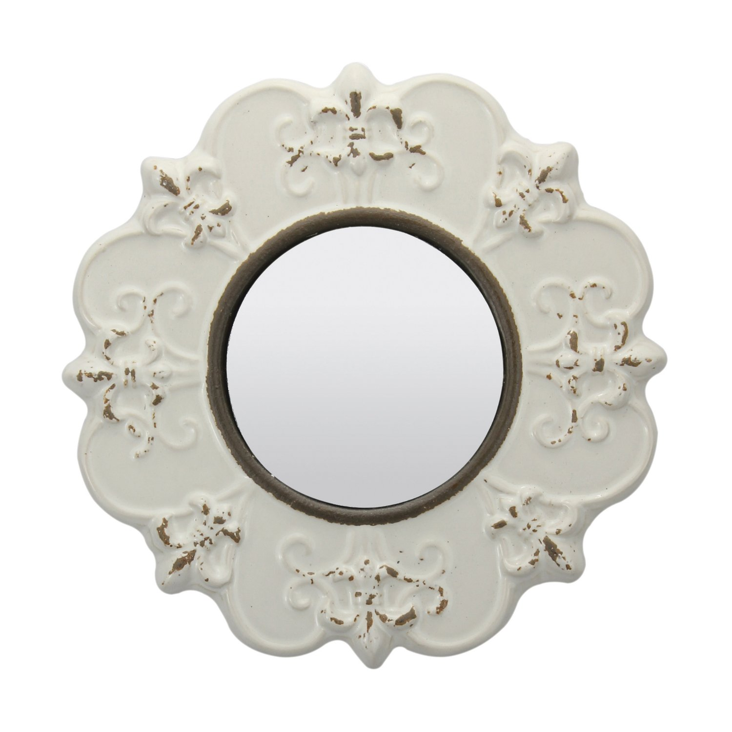Use this Stonebriar Decorative Round Antique White Ceramic Wall Mirror by with other items in a similar finish in a wall gallery for a cohesive look or as a grouping of a set of 3.
