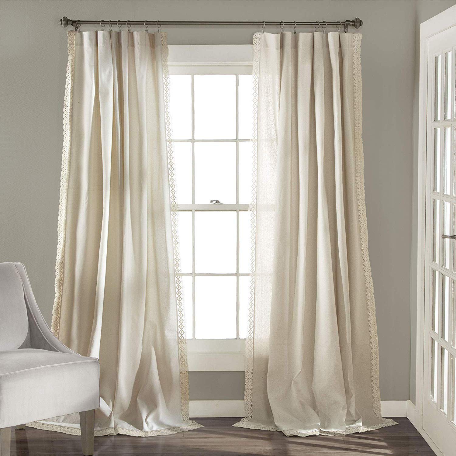 I just love the little detail trim that these Lush Decor Rosalie Window Rustic Farmhouse Style Curtains bring into a space, a perfect way to add character while staying in a neutral color palette.