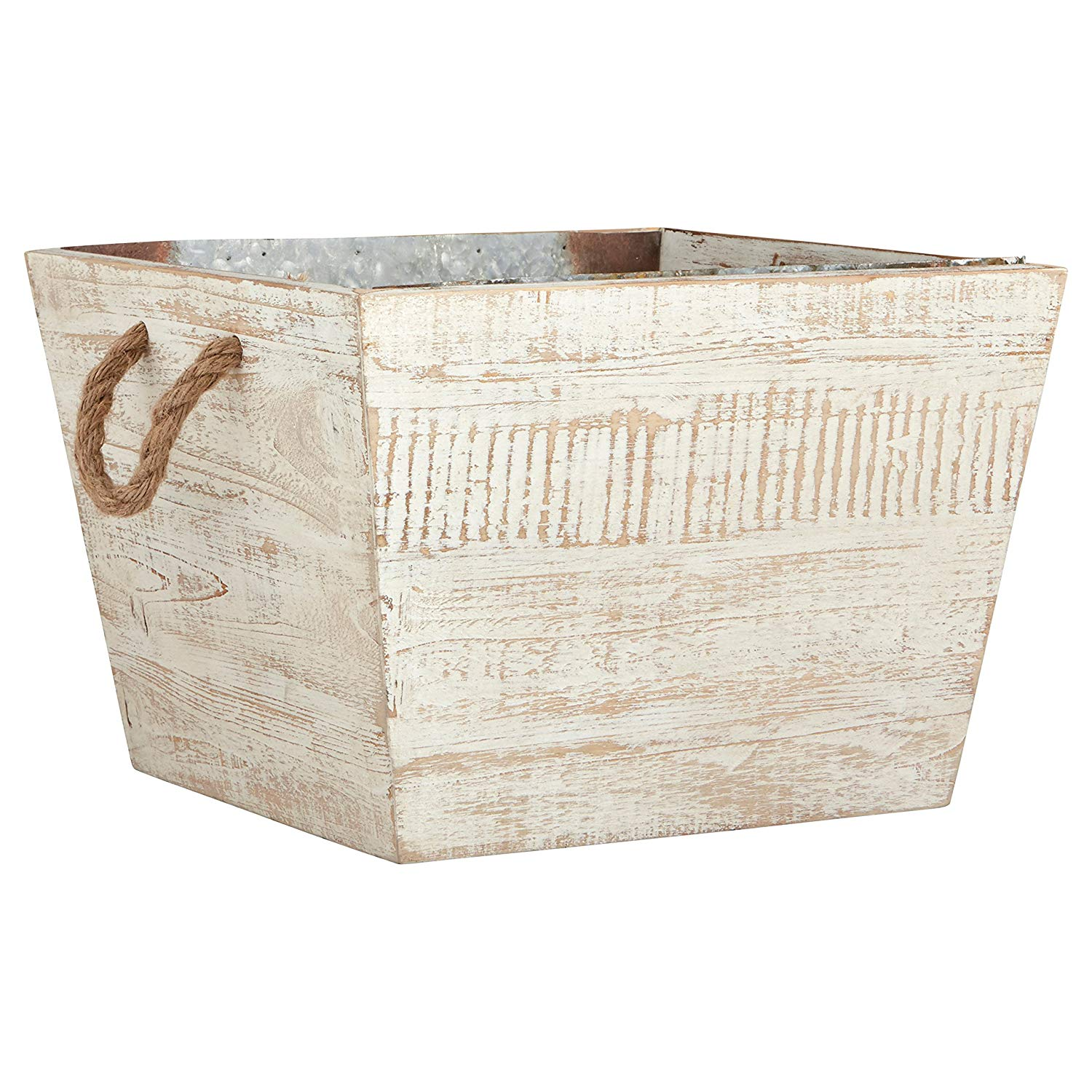 Update your storage game with this White Washed Modern Farmhouse Wood and Galvanized Metal Decor Storage Bin Basket, perfect for kids toys in a playroom, wood storage by the fireplace or blankets in the living room.