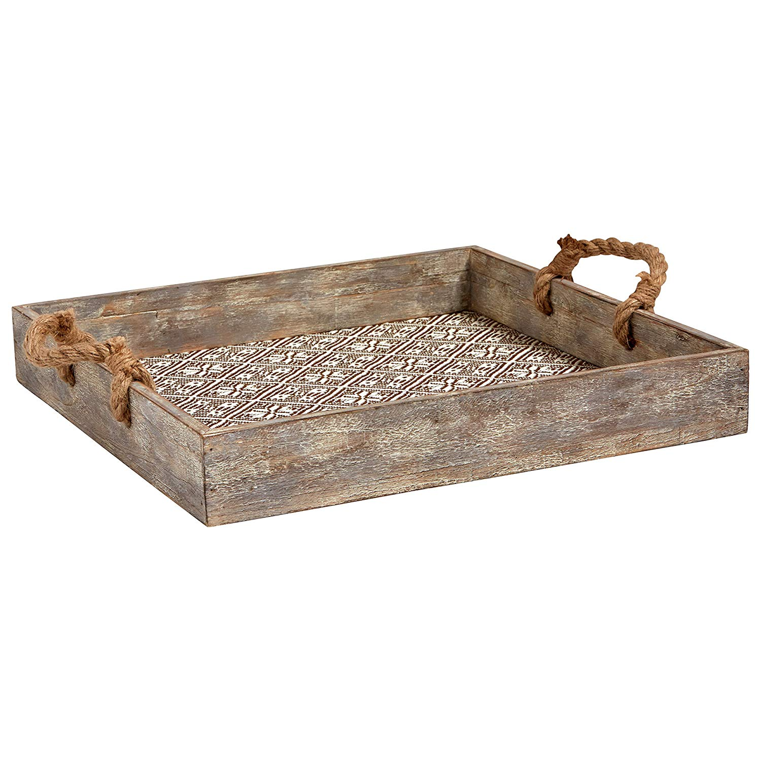 Add this Stone & Beam Rustic Farmhouse Wood Serving Tray With Patterned Rattan and Rope Handles to your countertop or tabletop with a vase of flowers from your backyard, a few candlestick or a stack of vintage books and there will be no mistaking which style you are trying to achieve.